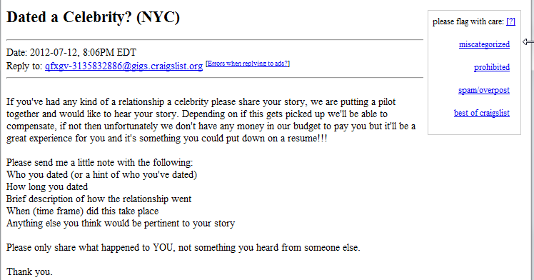 Craigslist ad looking for people that have dated a celebrity